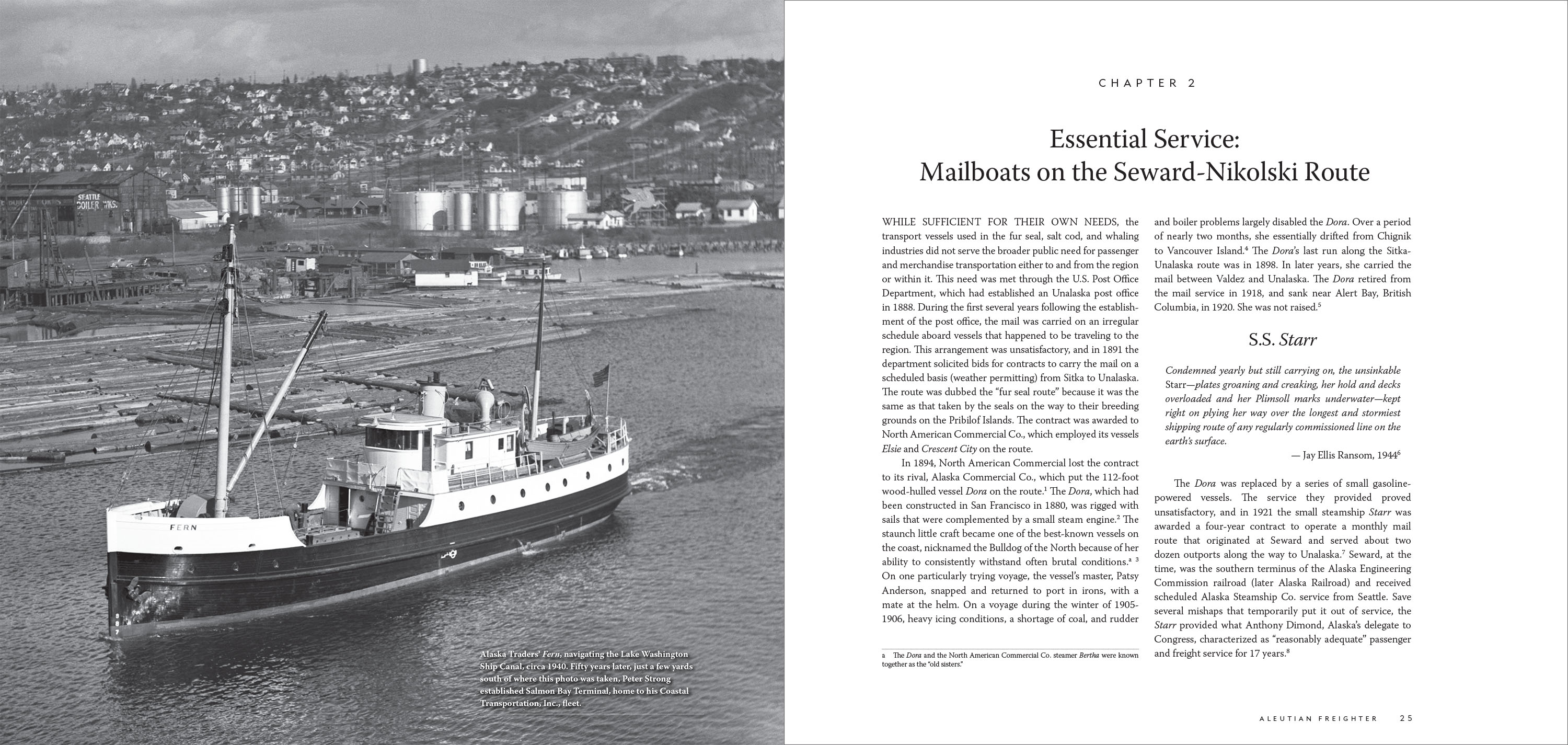 inside the corporate history book Aleutian Freighter
